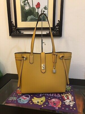 93a0d229242b NWT Michael Kors Large Leather Tote Cassie Bag Handbag In Marigold  398