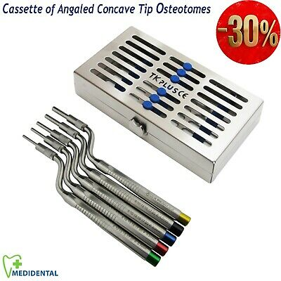 Dental Impant Set of 5 Sinus Lift Osteotomes Offset Concave Tip + Cassettes of 7