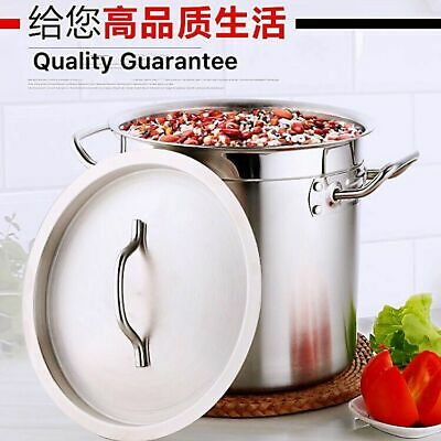 Professional Heavy Duty Large Stainless Steel Cooking Pot Soup Bucket & Lid AU