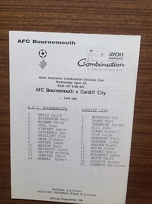 AFC BOURNEMOUTH RES v CARDIFF CITY RES Avon Combination 1996/97