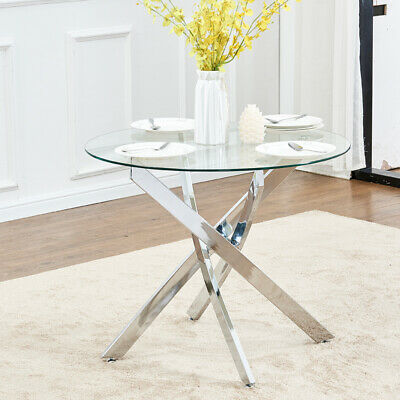 e1d537fee88 Tempered Round Glass Dining Table Cross Legs for 2 or 4 Chairs Kitchen  Furniture