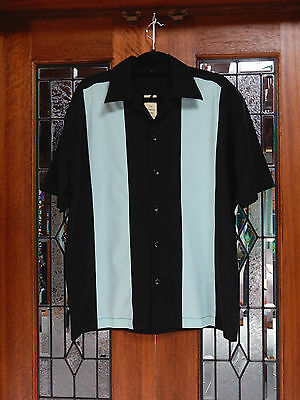 Men's Vintage 50's Rockabilly Charlie Harper / Sheen Style Stripe Bowling Shirt