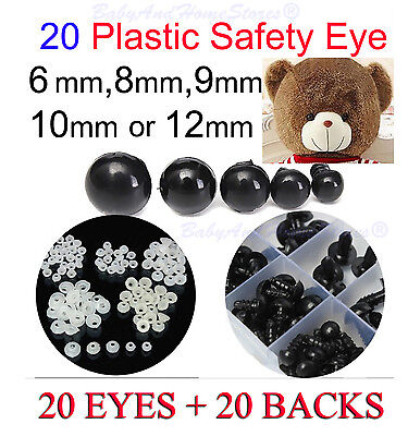 Safety Eyes For Teddy Bear Making** 6mm, 8mm, 9mm, 10mm, OR 12mm ** 20 BLACK