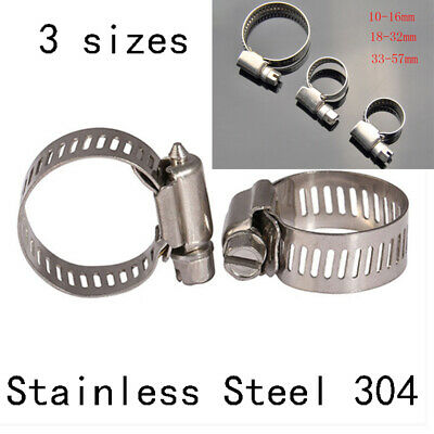 Lot Adjustable Stainless Steel Hose Fuel Line Pipe Clamps Tube Clips Hardware