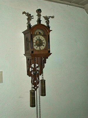 "Old Dutch Warmink Oak ""Schippertje"" Wall Clock with Moon phase Calendar,8 days."