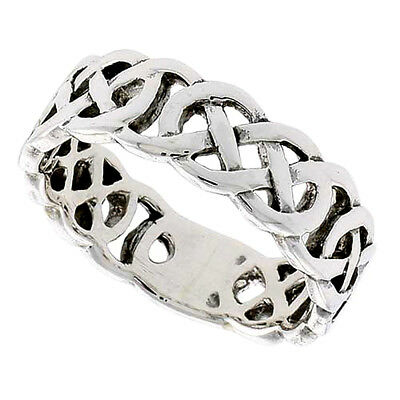 "1/4"" (6 mm) wide Sterling Silver Celtic Knot Flat Wedding Band / Thumb Ring"