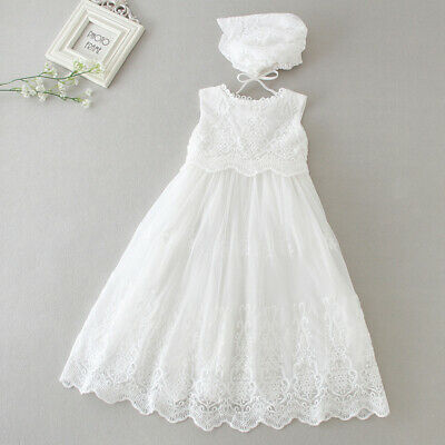 Floral Tutu Lace Christening Dress New Born Baby Baptism Birthday Gown Bonnet