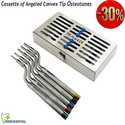 Dental Impant Sinus Lift Osteotomes Offset Convex Tip Set of 5 + Cassettes of 7