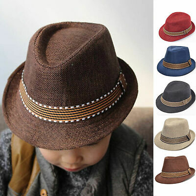 5f74ab18b78 Baby Girl Boy Toddler Kid Fedora Hat Jazz Cap Sun Photography Trilby Cap  Props
