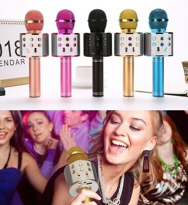 Q9 Wireless Bluetooth Handheld Mic Karaoke Microphone Speaker USB Player KTV UK