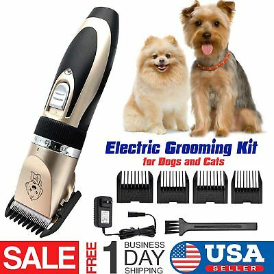 Professional Mute Pet Cat Dog Fur Hair Cordless Clipper Trimmer Shaver Kit Set