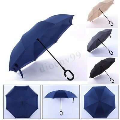 Reverse Inverted Upside Down Umbrella C-Handle Double Layer Inside Out Windproof