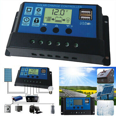 LCD Solar Panel Battery Regulator Charge Controller Dual USB 12V/24V 30A UK