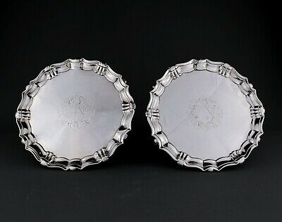 Rare Pair Antique Georgian Solid Sterling Silver Salvers / Trays. London 1736