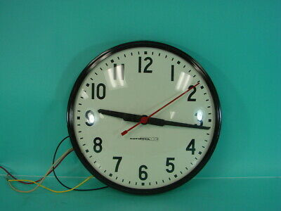 Vtg National Time Atomic Red Needle Clock Mid Century Classroom Works Synchron