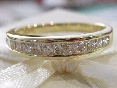 100% Genuine Stunning 0.60ct Diamond 18K Solid Yellow Gold Wedding/Eternity Ring