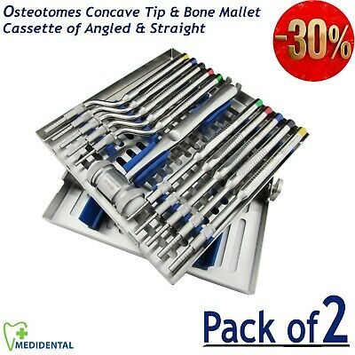 Cassette of Angaled & Straight tip Concave Tip Osteotomes & Mead Bone Mallet kit