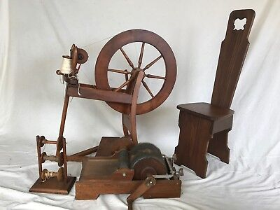 Ashford Spinning Wheel with Drum Carder and Spinners Chair plus Accessories