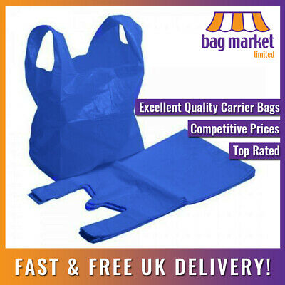 "Blue 16 Micron Plastic Carrier Bags | 11"" x 17"" x 21"" 