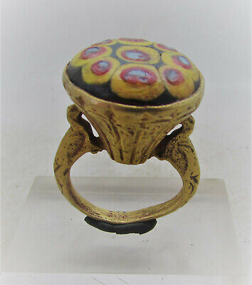 Beautiful Ancient Phoenician Gold Gilded Ring With Glass Mosiac Insert
