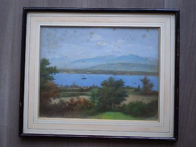 DRAWING ANTIQUE PASTEL 19ths LANDSCAPE LAKE MOUNTAIN DECO FRAME CLASSIC PAINTING