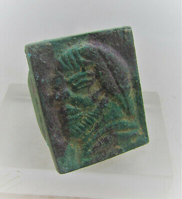 Beautiful Ancient Scythian Bronze Ring With Male Bust On Bezel