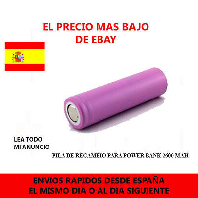 1x BATERIA PILA RECARGABLE 18650 de 2600mAh REAL 3,7V Battery Litio Li-ion