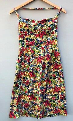 cbf51b8be58b Anthropologie Dress 6 Girls From Savoy Garden Party Halter Small Red Blue  Floral