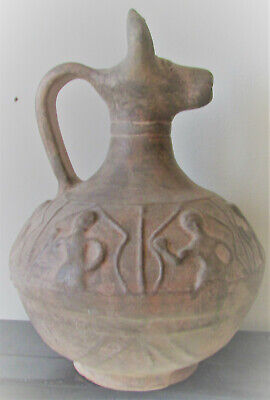 Ancient Amlash Bactria Terracotta Decorated Vessel With Rams Head