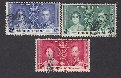 Hong Kong KGVI 1937 Coronation SG137-9 set 3 VFU very fine used
