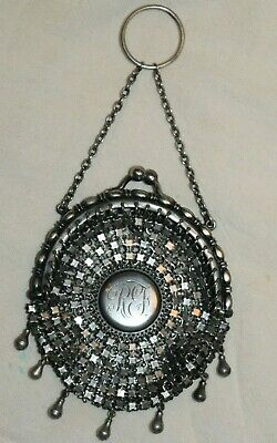 Antique Victorian Finger Ring Round Tassel Chatelaine Mesh Purse Sterling Silver
