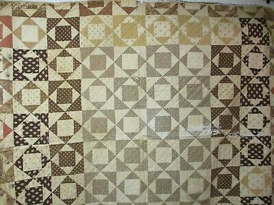 Antique 1860's Quilt Madder Browns Shirting Prints Square in a Square