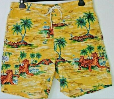 0e7cf91bfb07 Polo by Ralph Lauren Mens Vintage Yellow Leopard Swim Trunks Hawaiian Size  Large