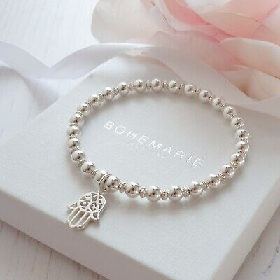 Sterling silver hand of hamsa beaded charm bracelet gemstone stacking jewellery
