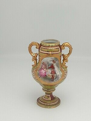 Royal Vienna Austria Neoclassical Small Portrait Handled  Vase Beehive Mark 6.5""