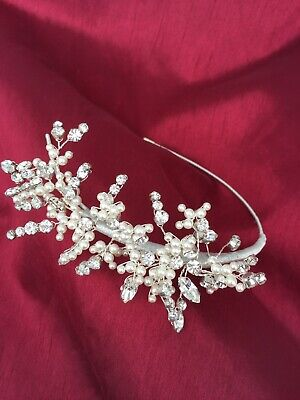 Crystal And Pearlised Bead Wedding Tiara Headdress - Left Or Right Sided Wear