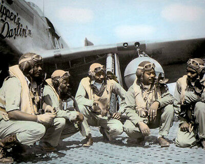 """P51 MUSTANG GROUP TUSKEGEE AIRMEN WWII ITALY 1944 11x14"""" HAND COLOR TINTED PHOTO"""