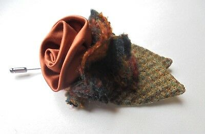 Harris Tweed/Silk Satin/Tweed/Liberty fabric Buttonhole/Corsage/Lapel Pin.