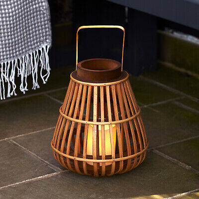 Natural Wooden Bamboo LED Battery Candle Lantern 30cm Warm White LED Lights4fun