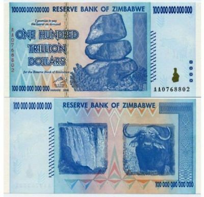 Zimbabwe 100 Trillion Dollars, AA /2008 Series, P-91, UNC, Banknote Currency-l