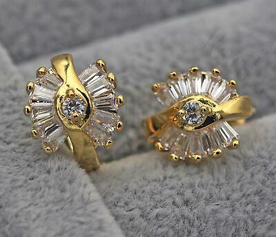 18K Yellow Gold Filled - Swirl Flower Clear Topaz Trapezoid Party Earrings Br