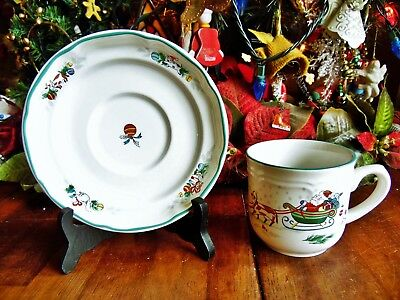 2 NEW OTHER(old stock) INTERNATIONAL CHINA COUNTRY CHRISTMAS 1 CUP & 1 SAUCER