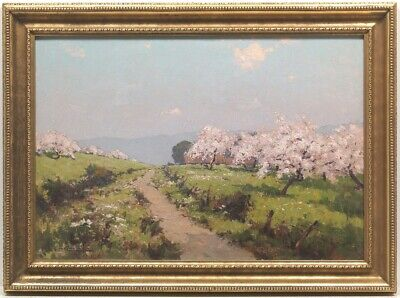 Antique Signed Original Oil Landscape Painting Listed French Artist Leon Launay