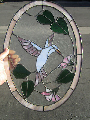 Vintage Large Tiffany Style Stained GLASS FLOWERS & HUMMINGBIRD 16 X 11 Gorgeous
