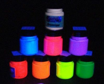 Acrylic Fluorescent UV Blacklight glow Paint  30ml or 100ml jar select a colour