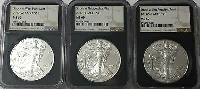 2017 (P) (W) (S) Silver Eagle NGC MS69 3 COIN SET BLACK CORE BROWN LABEL