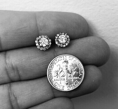 1.00ct Diamond Halo Round Stud Earrings 14K Solid White Gold Made in USA