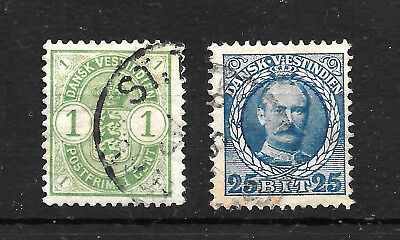 Danish West Indies stamps, 1C Green 1900, 25B Blue 1908, VFU Used