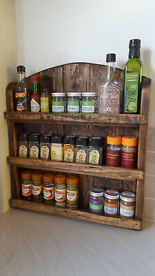Handmade Rustic Wooden Spice Rack Wall Mountable Reclaimed Wood Kitchen Storage