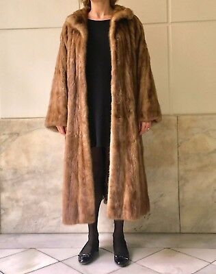 BROWN MINK - Abrigo VISON - Full-length FUR COAT Medium-large